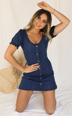 Not Yours Denim Dress In Dark Blue Wash