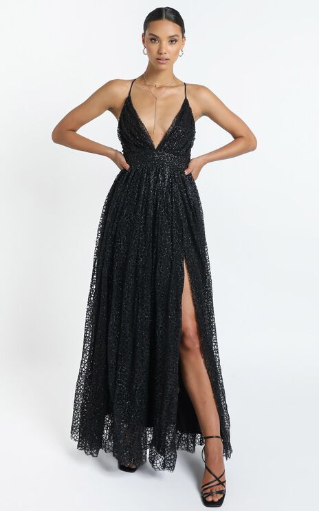 Lady Godiva Dress in Black Glitter