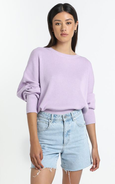 Lullaby Club - Alex Knit Sweater in Periwinkle