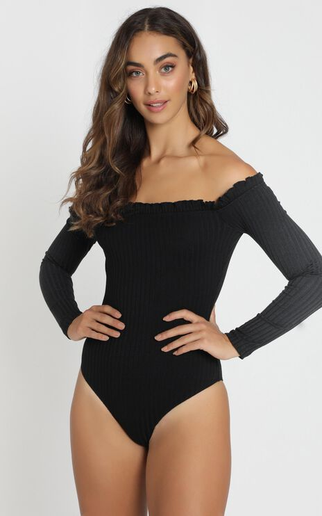 Fresh As A Daisy Bodysuit In Black