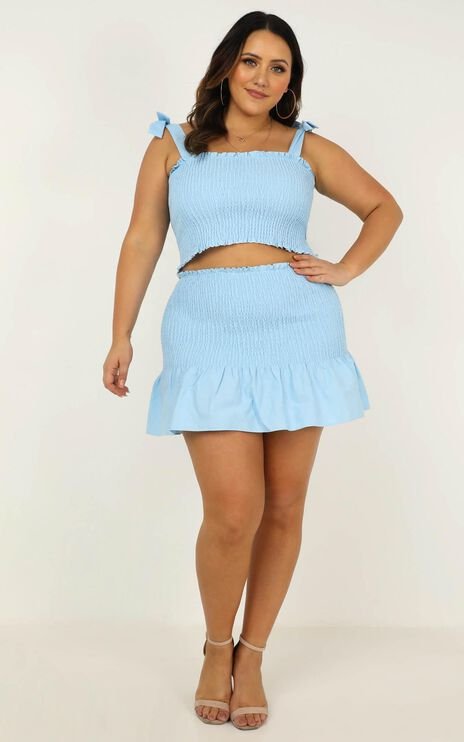 Bright Spot Two Piece Set In Powder Blue Linen Look