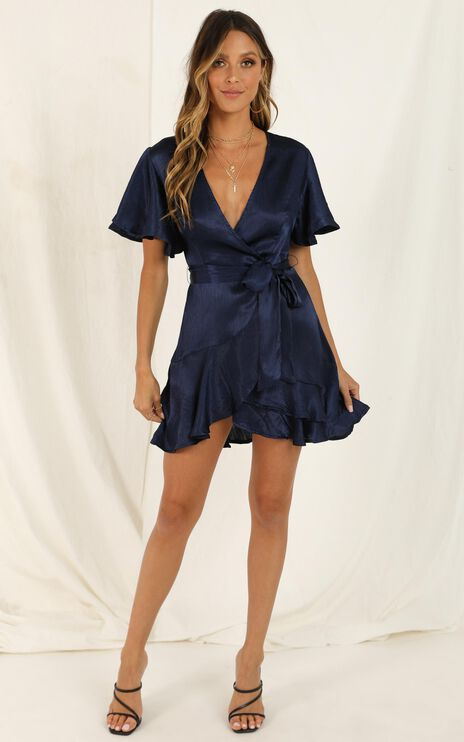 All I Want To Be Dress In Navy Satin