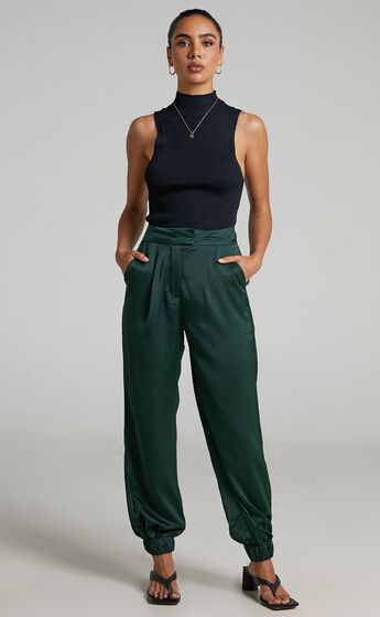 4th & Reckless - Elina Satin Jogger in Forest Green