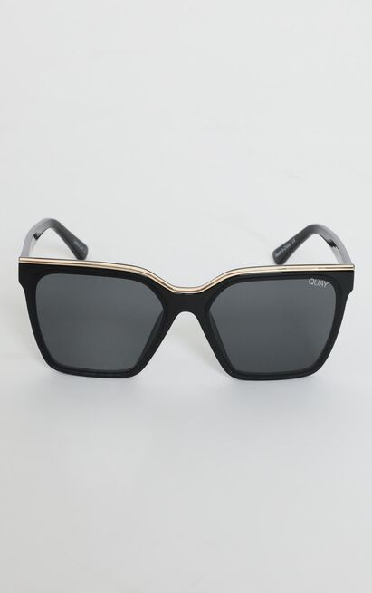 Quay X Lizzo - Level Up Sunglasses in Black and Smoke Lens, , hi-res image number null