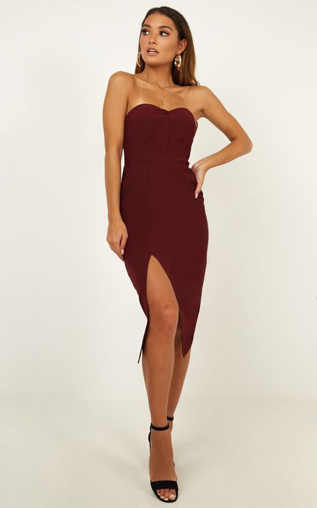 By Your Side Dress In Wine