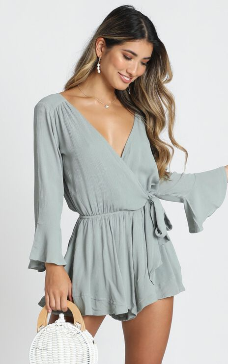 Sunday Breeze Playsuit In Sage