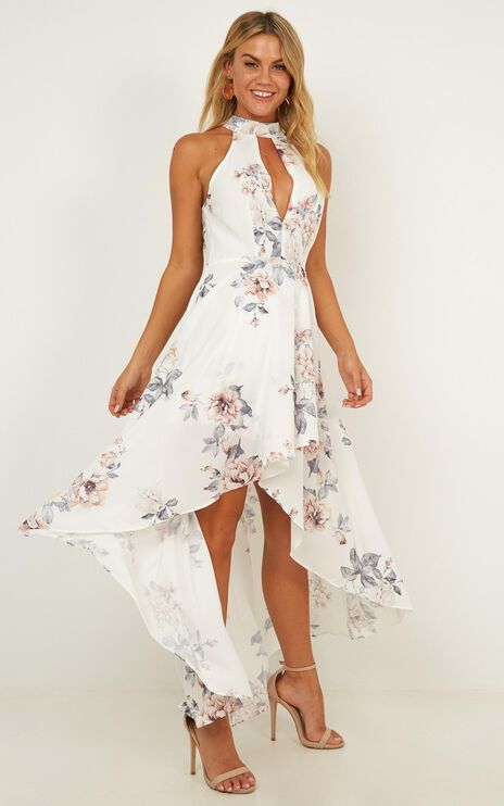 Losing Faith Dress In White Floral