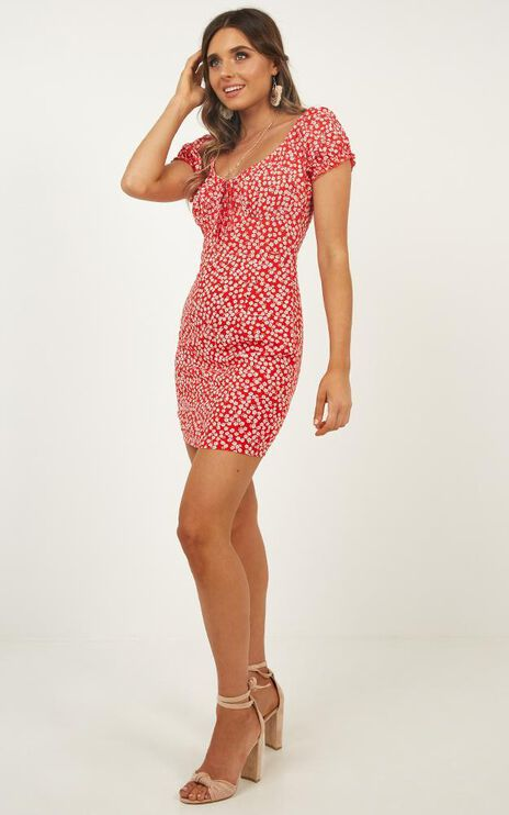 Run This City Dress In Red Floral