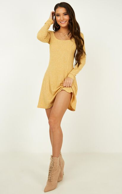 Wildly Dreaming Dress in mustard marl - 20 (XXXXL), Mustard, hi-res image number null