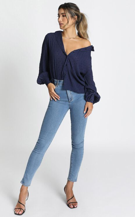 It's A Look Button Front Shirt In Navy