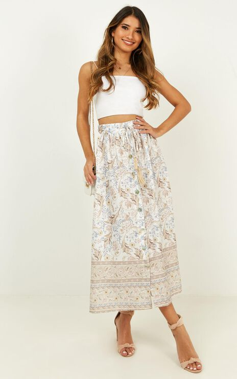 For All I Know Skirt In White Print