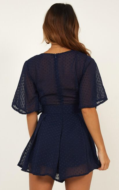 Chains Hit My Chest Playsuit In Navy - 4 (XXS), Navy, hi-res image number null