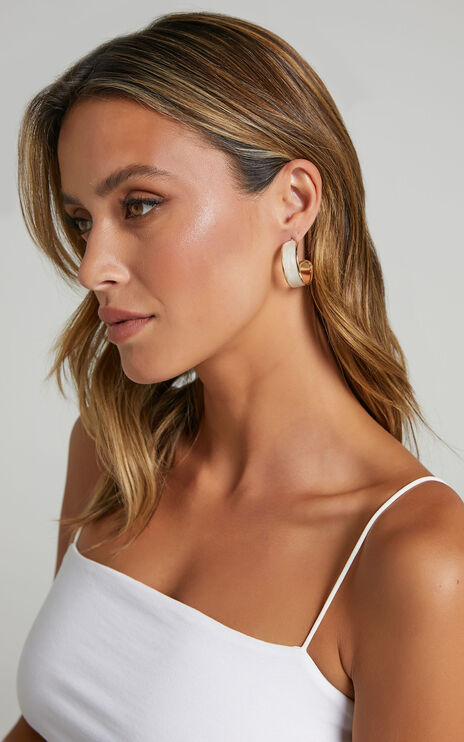 Raye Hoop Earrings in Gold and White
