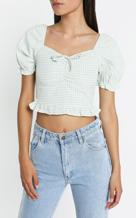 Macleod Top in Sage Check