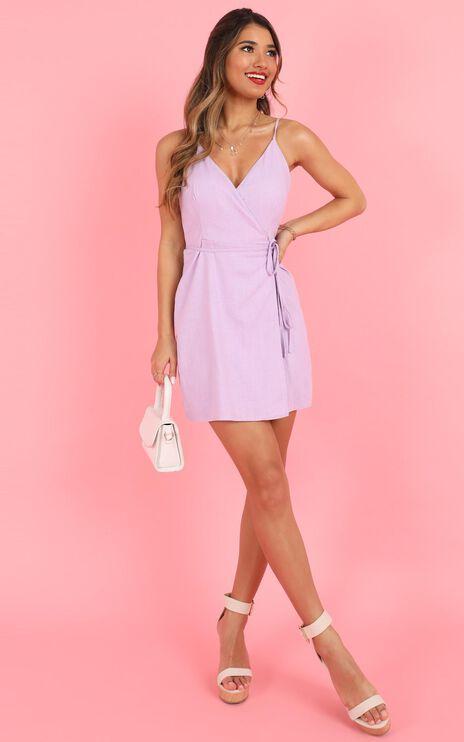 Whisper It Dress In  Lilac Linen Look