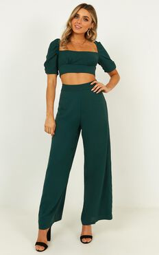 Grateful For Love Two Piece Set In Emerald