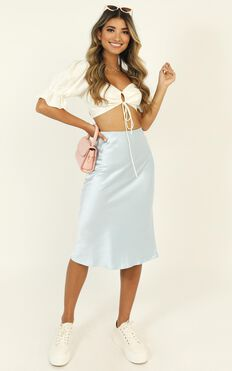 Board That Plane Skirt In Blue Satin