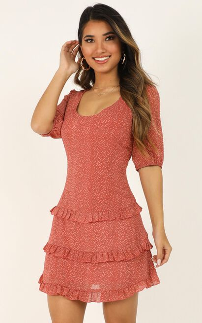 You Cant Be Me Dress in rose micro spot - 20 (XXXXL), Rust, hi-res image number null