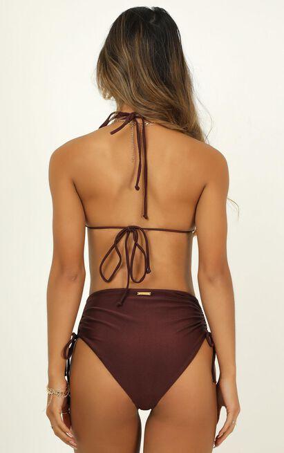 Alexis bikini top in chocolate metallic - 20 (XXXXL), Brown, hi-res image number null