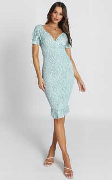 Lucky Shirred Midi Dress in Sage Floral