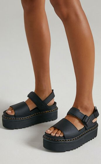 Dr. Martens - Voss Quad Sandal in Black Hydro Leather