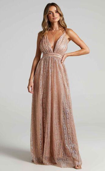 Romantic Night Maxi Dress in Rose Gold