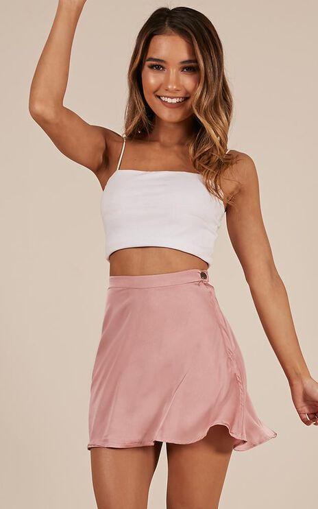 Story Of Mine Skirt In Blush Satin