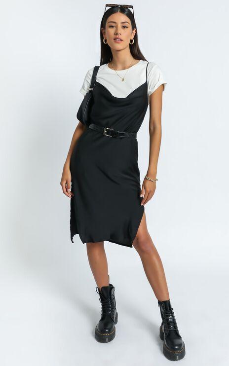 Levelle Dress in Black Satin