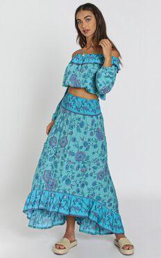 Nostalgia Skirt in Blue Floral