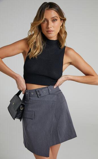 Valeria Asymmetric Skirt in Charcoal