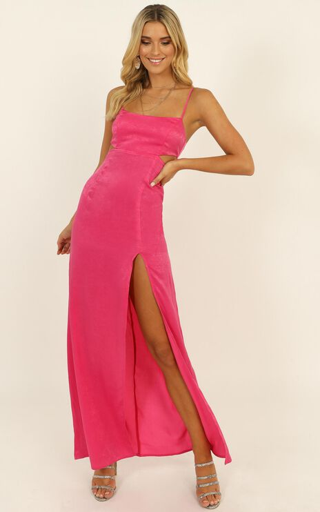 A Special Mention Dress In Hot Pink Satin