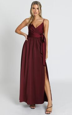 Revolve Around Me Dress In Wine