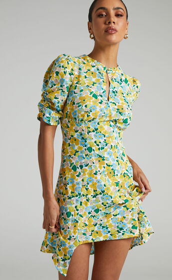Hartford Front Key Hole Mini Dress in Green Floral