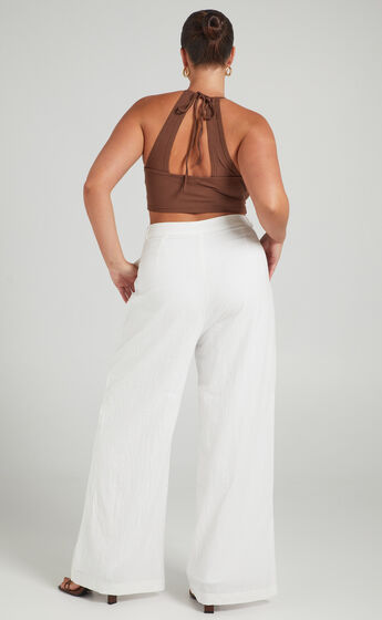 Honalee High Waisted Wide Leg Pant in White Linen Look