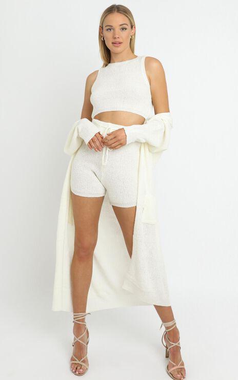 Saffron Knit Three Piece Set in White