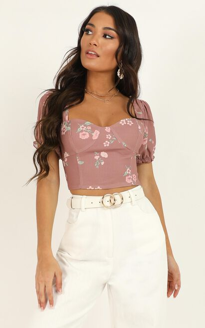 For A Change top In blush floral - 20 (XXXXL), Blush, hi-res image number null