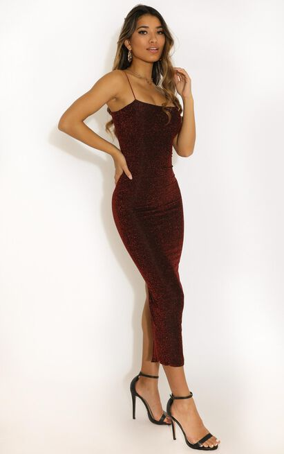 Keep The Party Going Dress In Wine Lurex - 16 (XXL), Wine, hi-res image number null