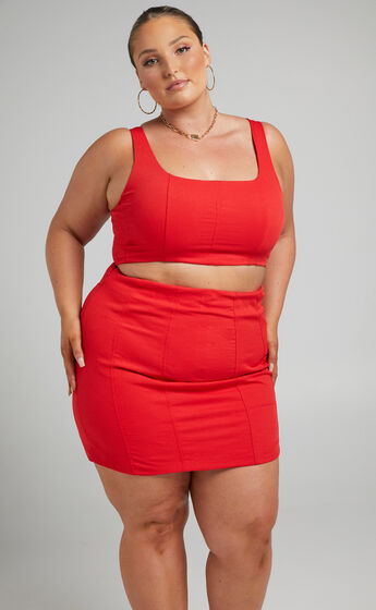 Mayling Panelled Mini Skirt in Oxy Fire
