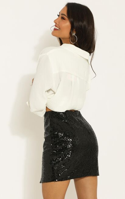 Its Fair Game Skirt in black sequin - 18 (XXXL), Black, hi-res image number null