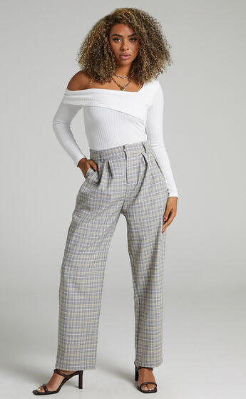 Spears Tailored Straight Leg Check Pants in Navy Check