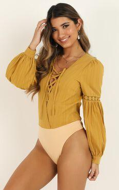 Im Out Here Thinkin Bodysuit In Mustard Linen Look