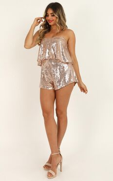 Wrap Out Of It Playsuit In Rose Gold Sequin