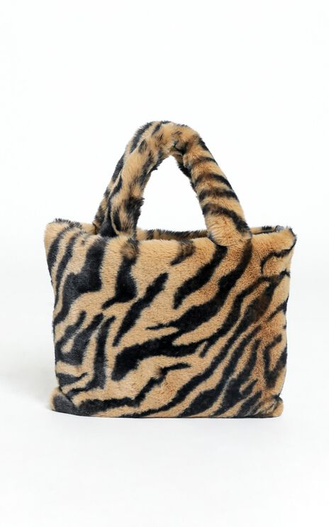 Cool Chic Furry Bag in Tan Zebra