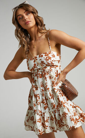 Lorelle Straight Neck Tiered Mini Dress in Shadow Floral