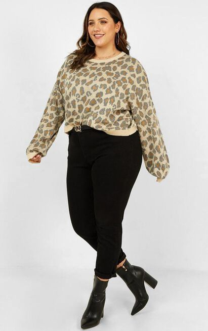 Anything Goes Jumper in leopard - 18 (XXXL), Cream, hi-res image number null