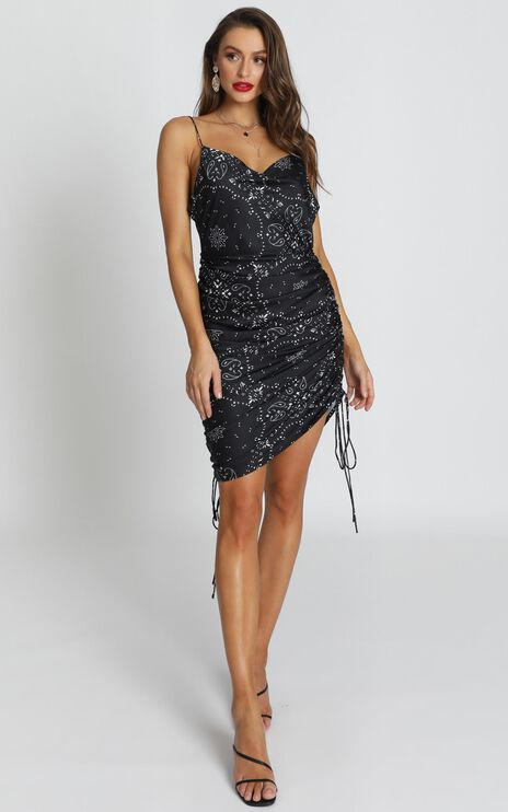 Lioness - String Along Dress In Black Print