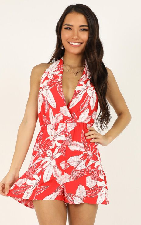 Time For Tea Playsuit In Red Floral