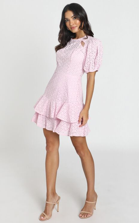 Eternal Short Sleeve Mini Dress In Lilac Embroidery