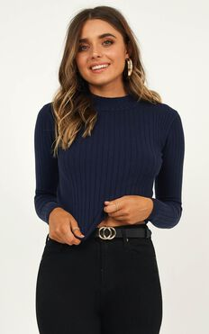 Downtown Dreams Knit Top In Navy