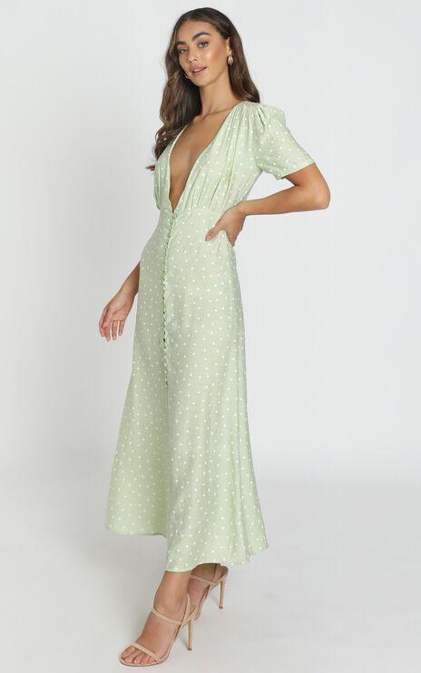 Peri V Neck Midi Dress In Green Heart Print